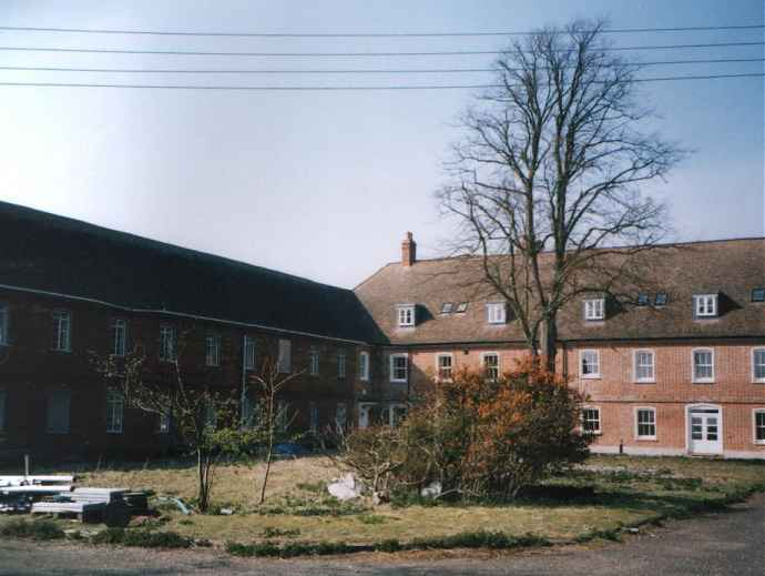The Main courtyard. South side of central bar (right) now converted, south west arm (left) still derelict.