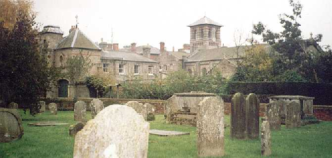 Old Hall from the churchyard of St Mary. The long building to the right of the bell tower is the chapel.