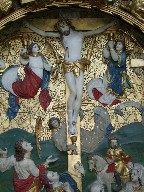 Flemish altar piece: angels collect the precious blood