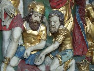 Flemish altar piece: soldiers playing dice