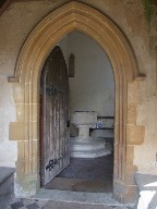 south doorway and font
