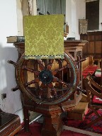 pulpit and ship's wheel