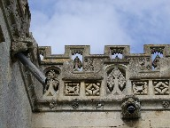 parapet tracery and gargoyles