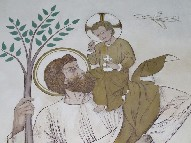 St Christopher, Christ child and jet plane