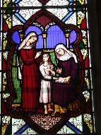 St Elizabeth watches St Anne teach the Blessed Virgin to read