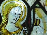 east window glass: Blessed Virgin