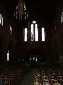 George Pace's light fittings in the darkened nave